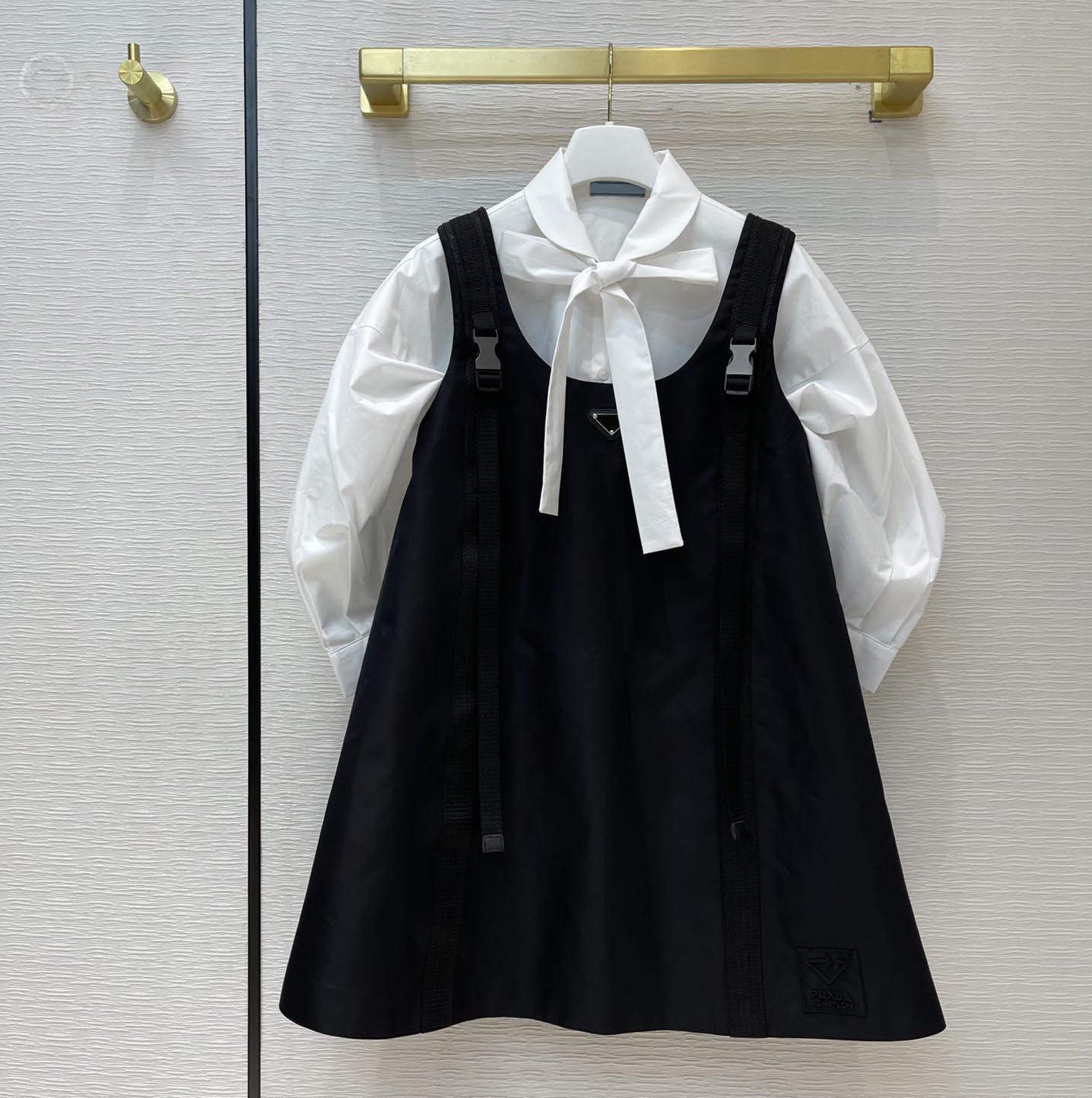 21SS новых женщин повседневные рабочие рубашки платья мода высококачественные рубашки матча подвеска платье повторно нейлоновый стиль юбка с перевернутым треугольником SML