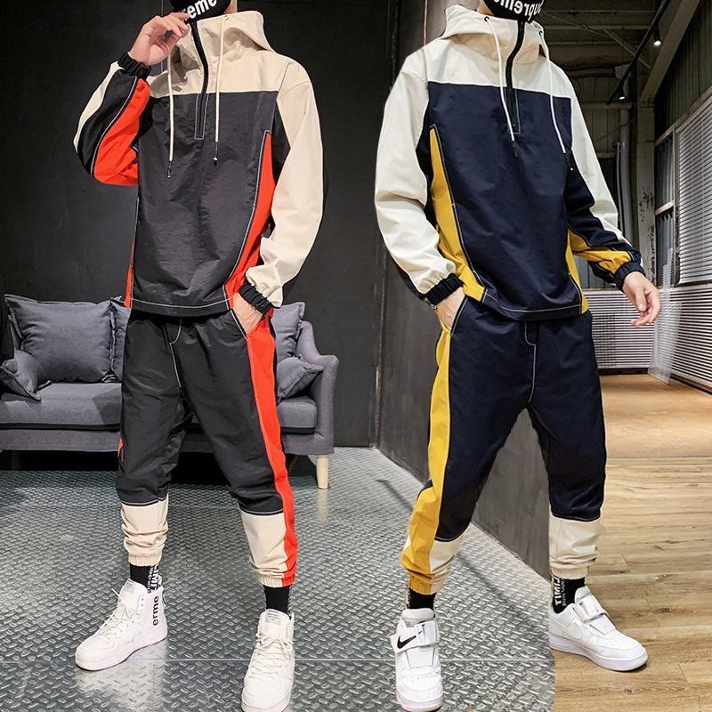 2020 Tracksuit Мужчины Мода Hoodie + Sweatpants Teengers Спортивные костюмы Student Повседневный Sweatsuits Осень Беговая Мужчины Лоскутные Комплекты