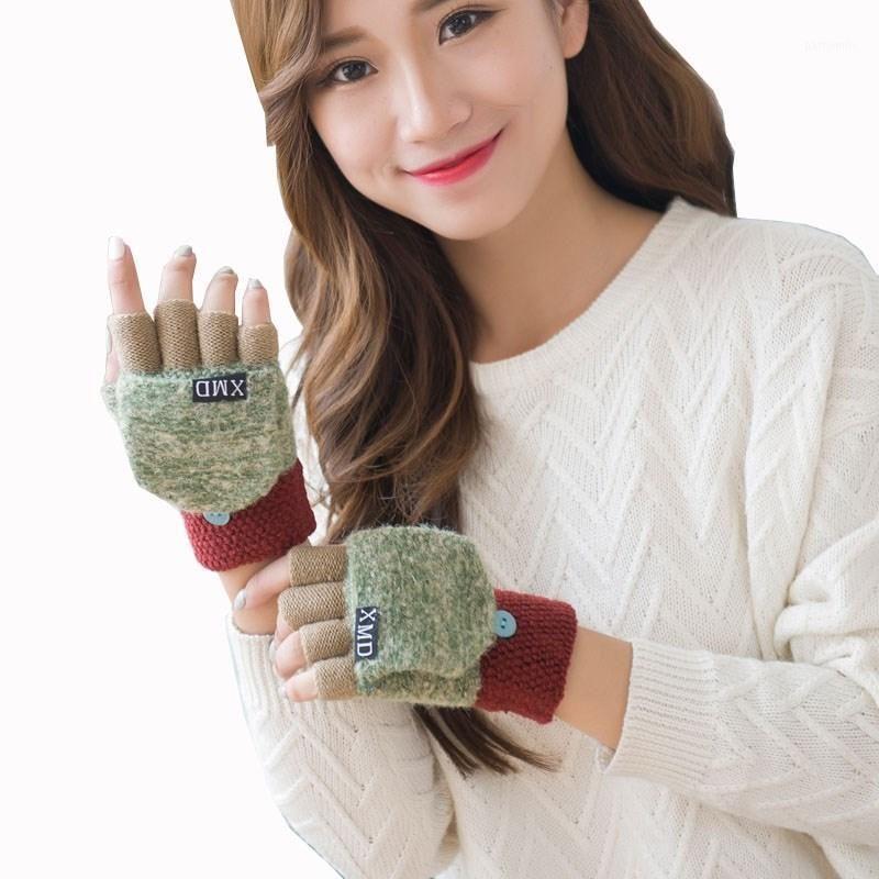 Cinco Luvas de Dedos YGGYEEG Feminino Outono e Inverno Versão Coreana das Mulheres Quentes Patchwork Cute Clamshell Dupla-Uso Meio dedo Glov