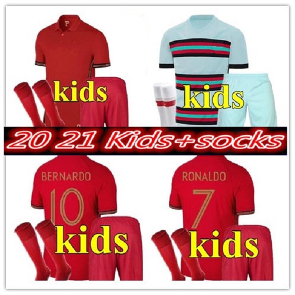 2020 National Team Bambino Bambini Kit Kit Ronaldo João Félix Youth Eder Quaresma 20 21 Maglietta Maillot de Futol Thailandia Maglie di calcio