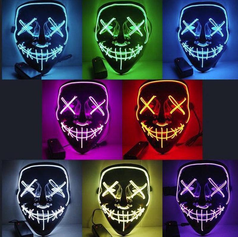 미국 주식 할로윈 공포 마스크는 마스크 빛나는 LED 제거 마스크 선거 의상 DJ 파티 라이트 업 마스크 글로우 어두운 10 색상 무료 배송