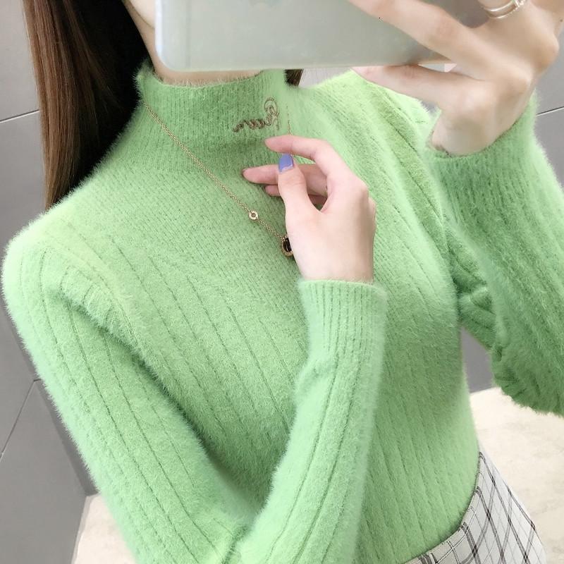 2021 Новая зимняя теплая половина водолазки свитер женщины мягкие удобные норки кашемировые свитера тонкие дна трикотажные толстые пуловеры топ 465 JW