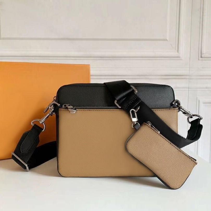 Кожаный мешок плеча мужчины сумка 3 шт моды сумка комплект сумка для мужчин дальнозоркостью мини пакет плеча мешок человек оптовой Trio