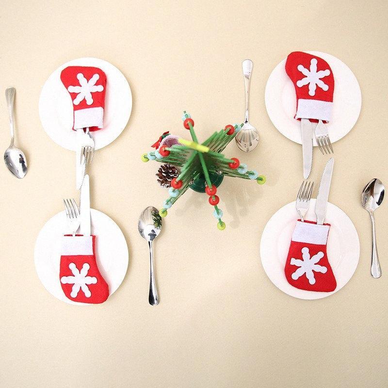 12pcs / lot Noel Gümüş Tutucu Mini Noel ağacı Çorap Noel Dekorasyon Home For Dinner Dekor Navidad Natal 14 * 7cm Frr5 #