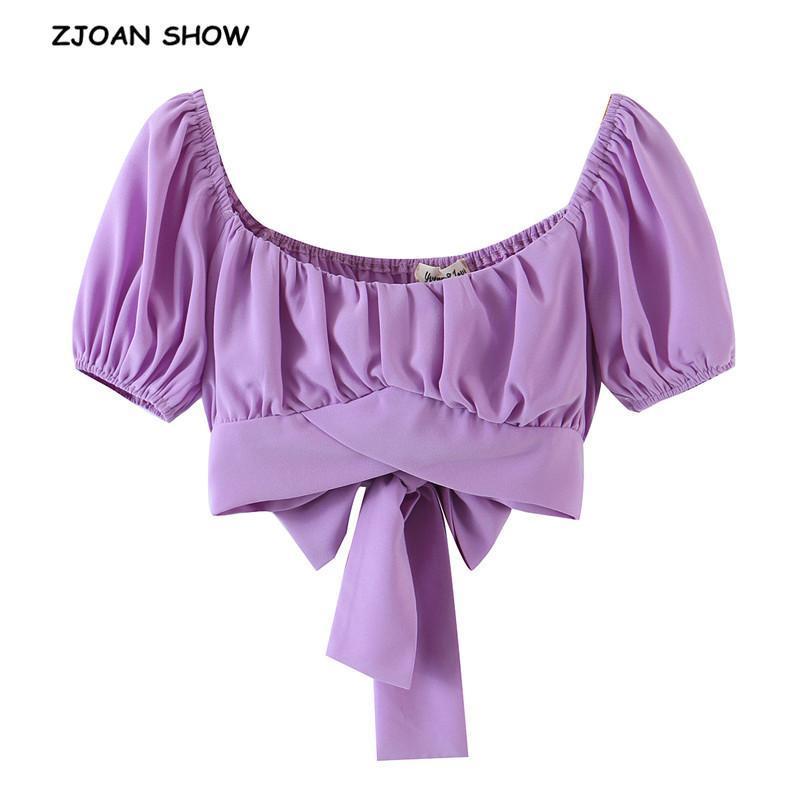 Chic linterna de manga corta vendaje vendaje arco recortado camisa mujer estilo francés estilo damas cayer copa top blusas sexy