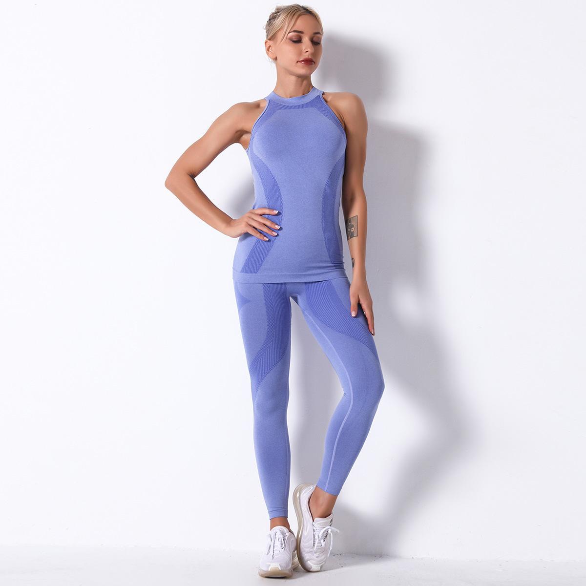 2021 Новая женская фитнес одежда одеждает носить бесшовные костюм спортивные колготки и короткий бюстгальтер топ спортивная спортивная одежда
