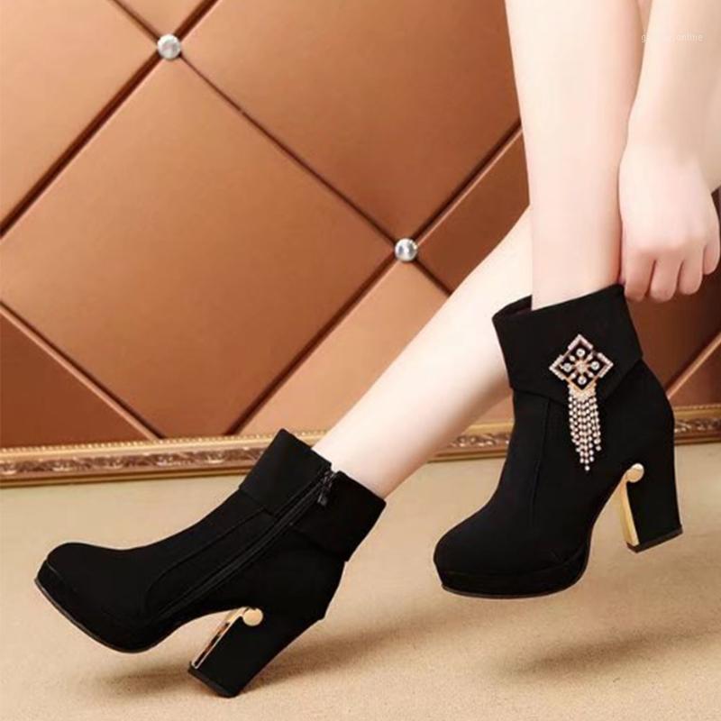 Bottes saraïdis 2021 talons hauts hiver femmes chaussures cristaux mode élégant bureau dames plateforme cheville femelle1
