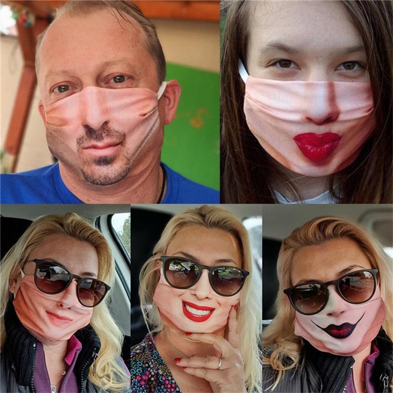 Лицевая маска для лица Особенности Клоун Печатная многоразовая моющаяся борода Смешные губы Женщина Человек против дыхания Нос Вентиляция пыли Маски рот 4 9FRA K2