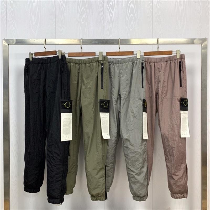 SS la mejor calidad 1: 1 metal textura hombres brújula Pantalones parcheados Joggers Hiphop Hombres Casual Jogger Pantalones Tecnología Pantalones Y201123