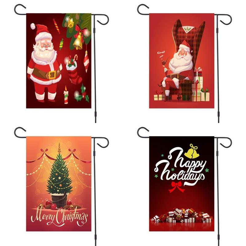 Weihnachtsmann Garten Flaggen Frohe Weihnachten Dekorationen Banner Candle Zucker kleine Glocke Flag Festival 6MX Atmosphäre Supplies F2