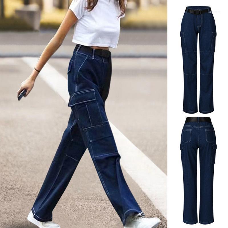 Vintage para mujer Jeans para mujer Jeans de cintura alta azul Pantalones de lápiz casual azules coreanos pantalones de mezclilla # 41