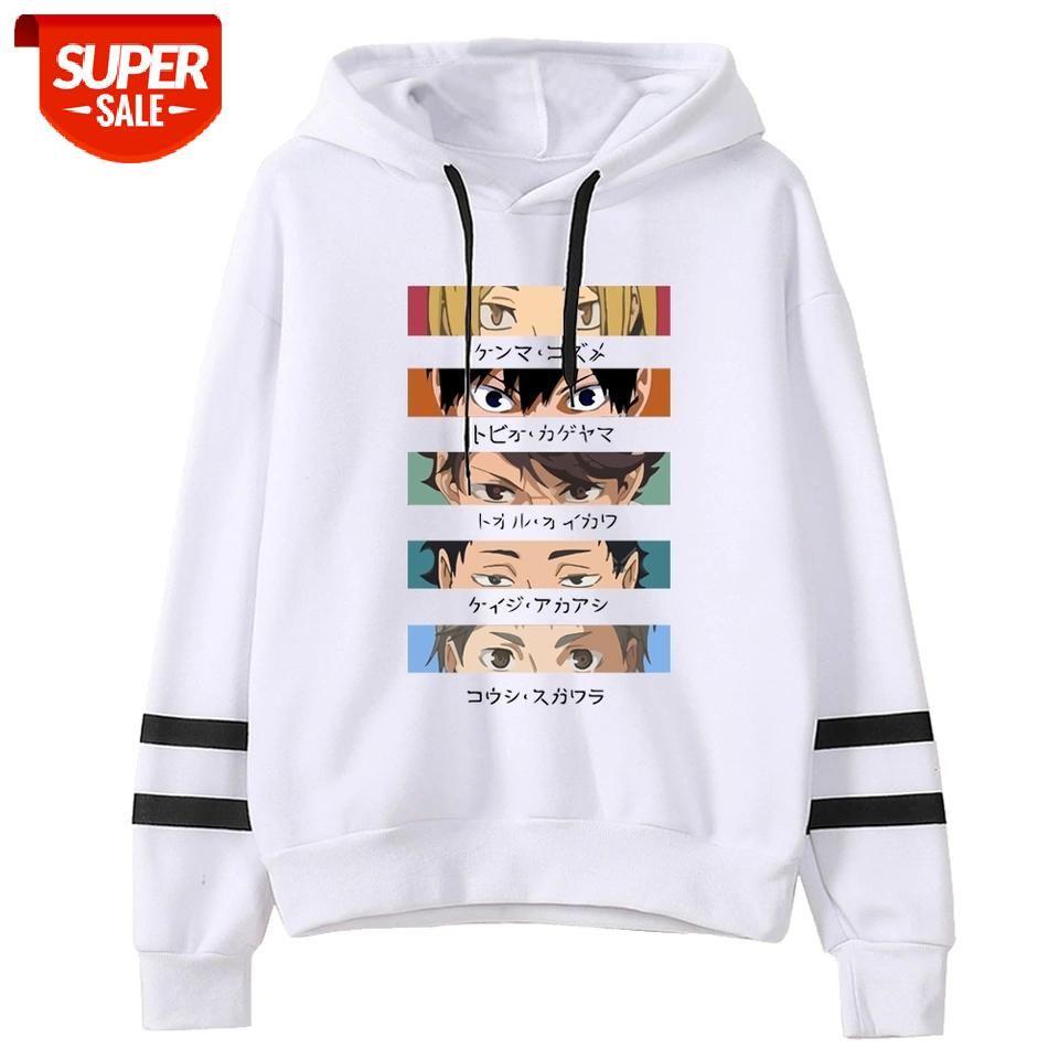 Haikyuu Hoodies Moda Casual Masculina Suéter Japão Anime solto Hoodie Hip Hop Streetwear Masculino # D05u