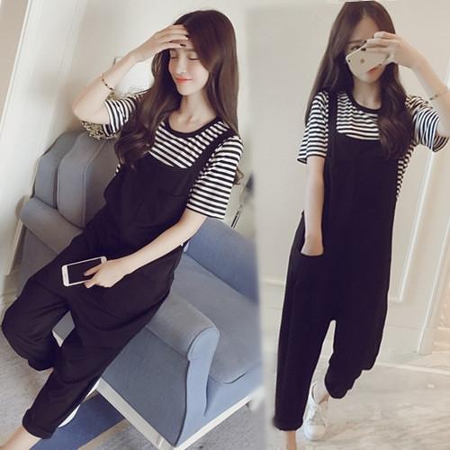 Donne pantaloni fionda e pantaloni alla caviglia per il grasso stile MM allentato coreano dimagrante cinghie casuali pantaloni bretella delle donne pantaloni a due piec
