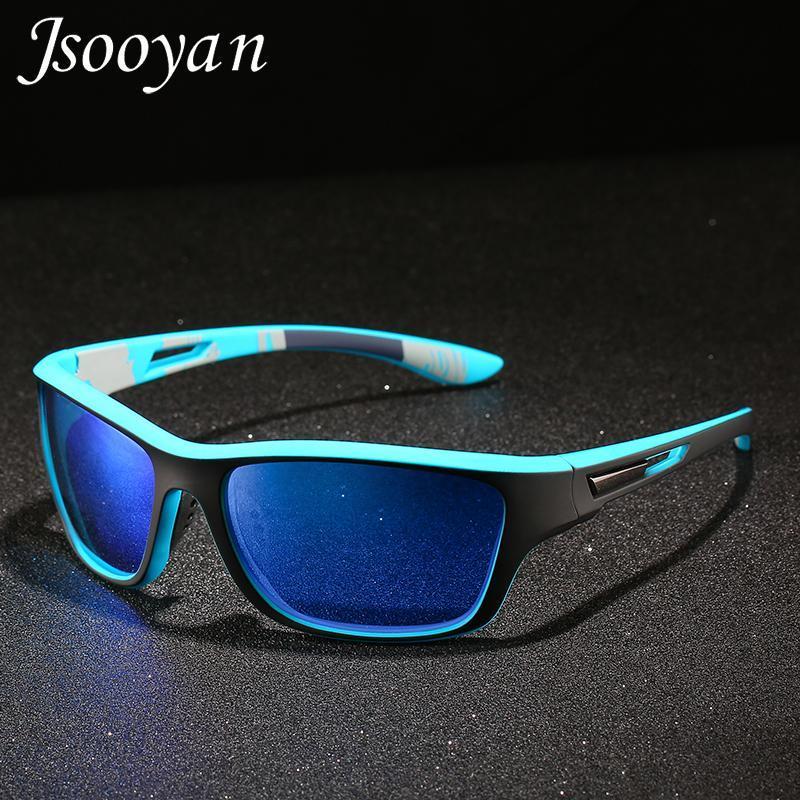 2020 Vintage Lunettes de soleil pour les hommes polarisants au volant Bleu Rouge Miroir TAC Objectif Lunettes de soleil Marque UV400 Homme Pêche Sport Goggle
