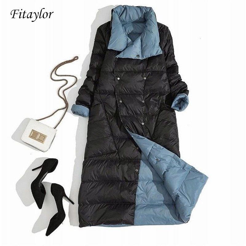 Fitaylor Kadınlar Çift Taraflı Aşağı Uzun Ceket Kış Balıkçı Yaka Beyaz Ördek Aşağı Ceket Kruvaze Parkas Sıcak Kar Dış Giyim Y200107