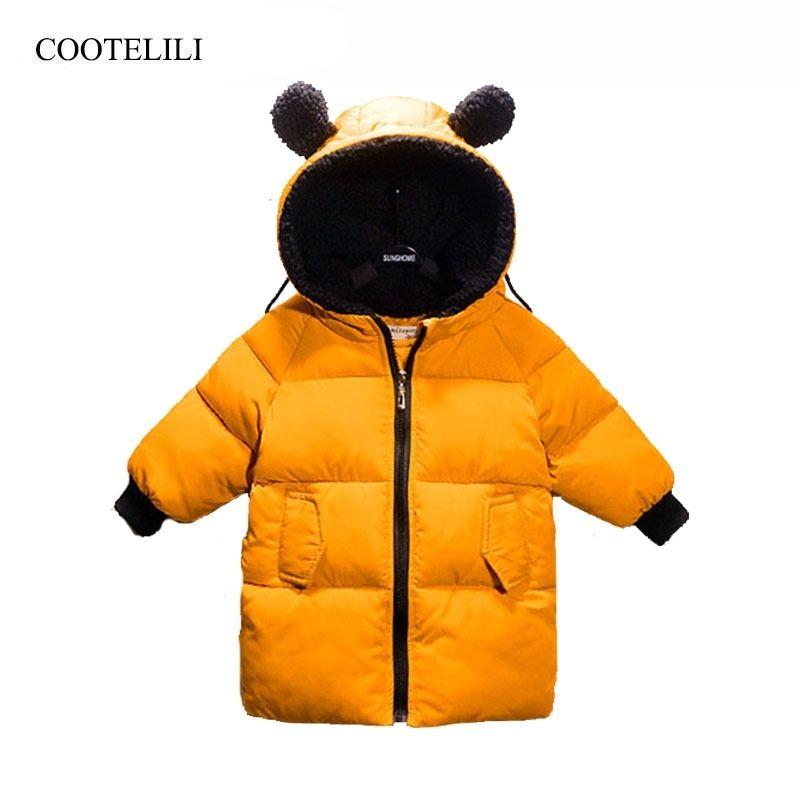 Cootelili зимние куртки для девочек мальчиков зимний комбинезон для девочек теплое пальто детское мальчика одежда детская одежда 80-130см 201102