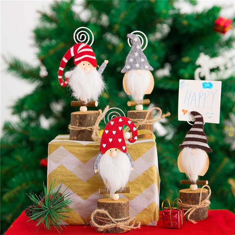 Noel Dekor Gnome Fotoğraf Klip Düğün İşaret JK2011KD için Ahşap Masa Numarası Adı Yeri Kartlı Standı
