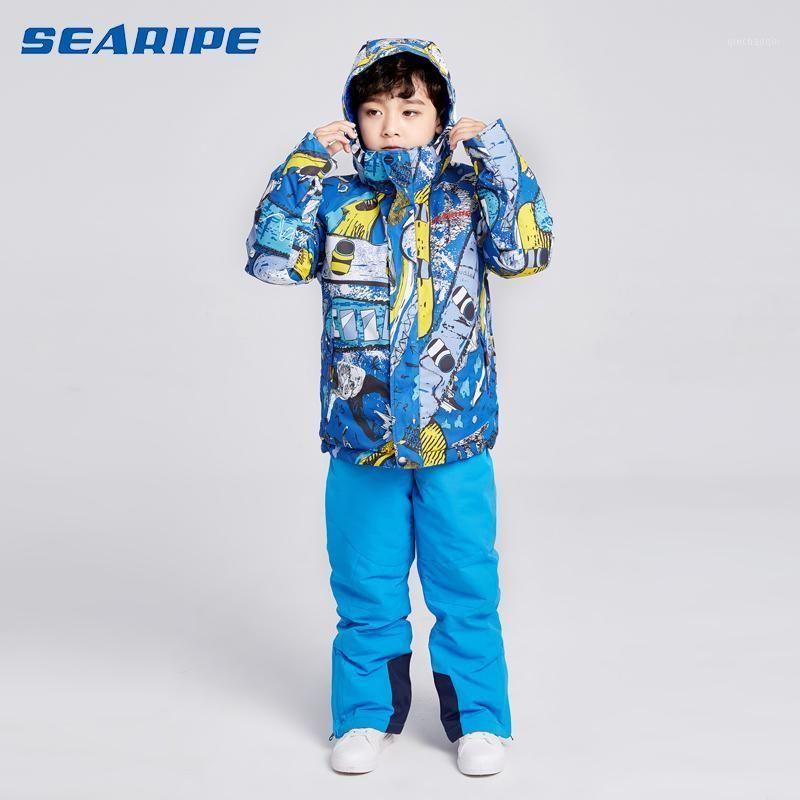 2020 New Children's Ski Suit Jumpsuit Snowboard Conjuntos de inverno Meninos e meninas jaquetas + calças aquecidas à prova d 'água da neve jaqueta Snowwear1