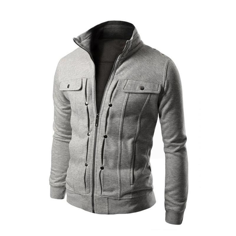 Men's Jackets Jacket Fashion Slim Stand Collar Buttons Decoration Warm Men Coat Autumn Winter Hip Hop Streetwear