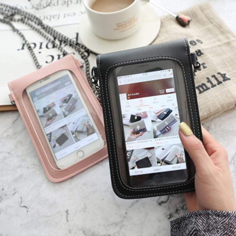 شاشة تعمل باللمس الهاتف الخليوي محفظة الهاتف الذكي محفظة جلدية الكتف حزام حقيبة يد المرأة حقيبة ل X Samsung S10 Huawei P201