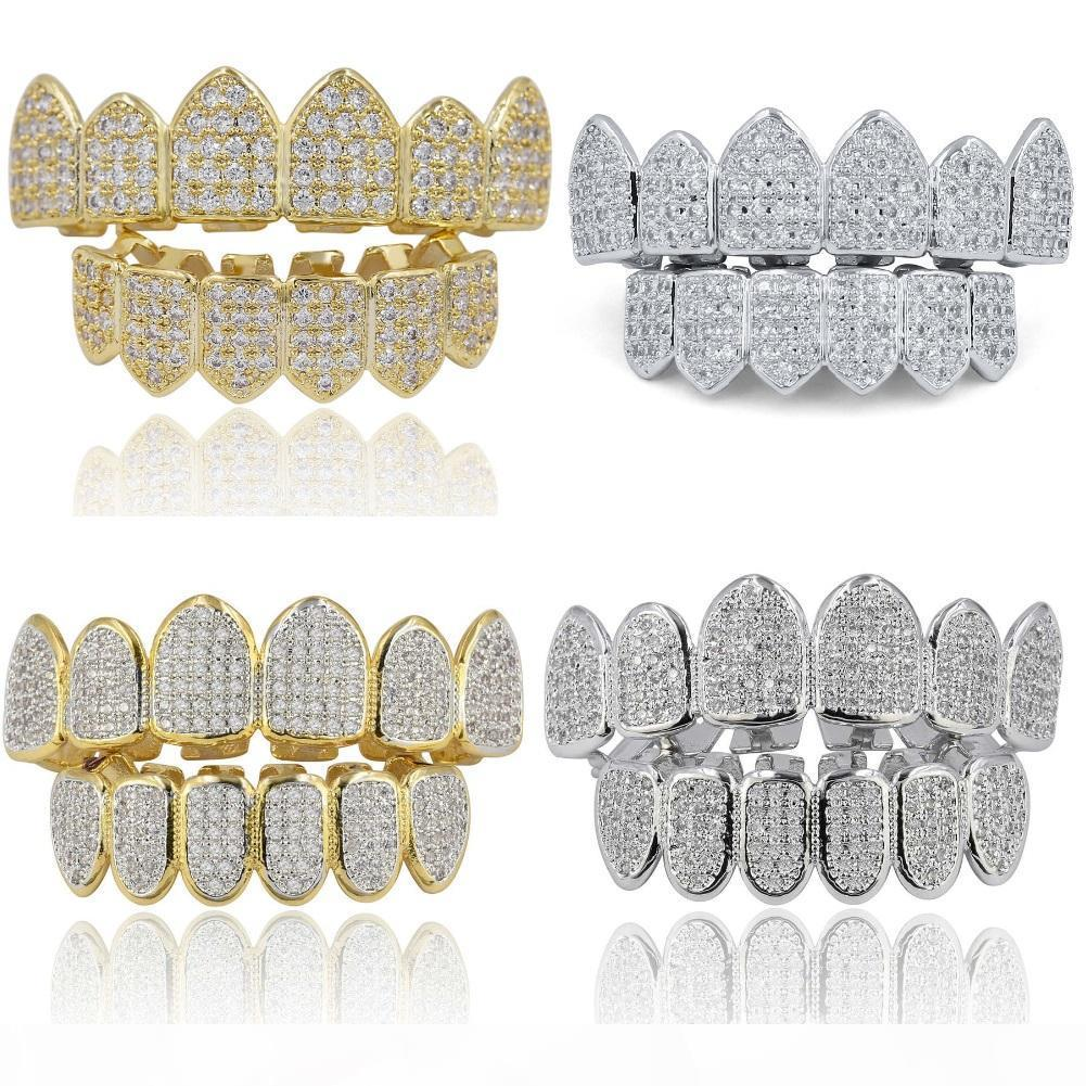 Hiphop Vampire Teeth Gold Plated Jewelry For Men Full Diamond Zircon Hip Hop Grillz Accessories Luxury Cool Hip-Hop Tooth Jewelries