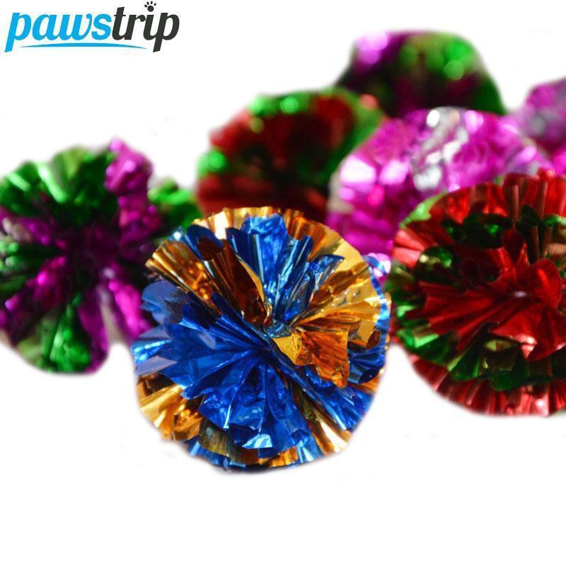 6 unids / lote Diámetro 5 cm Mylar arruga de bola gato juguetes de color colorido interactivo Papel de papel para gatos Kitten1