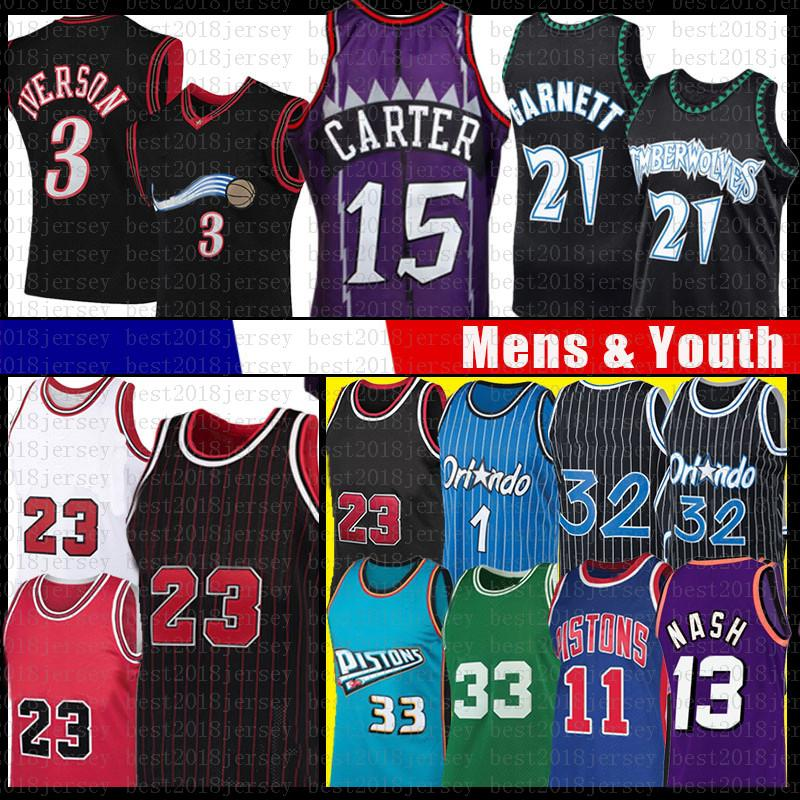 Vince 23 Allen 15 Carter Iverson Retro Mesh Basketbol Jersey Grant Isiah Penny Steve Hill Thomas Individge Nash Kevin Jason Garnett Williams