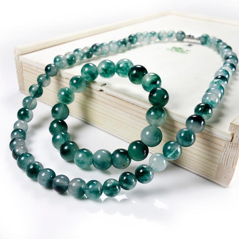 Genuine gioielli naturali verde 8 millimetri perle di giada collana giadeite Articoli da regalo Accessori di moda fascino fortunato amuleto per le donne i suoi uomini