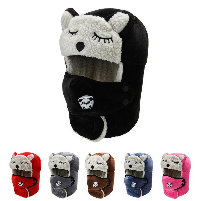 Clássico inverno mulheres chapéus cute panda desenhos animados espesso morno chapéu russo feminino máscara chapéu negro