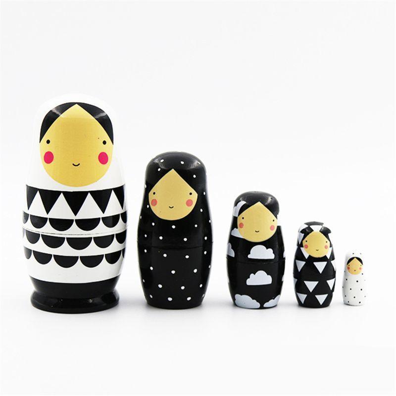 5 шт Набор русский Матрешки деревянные Матрешки куклы ручной работы Окрашенные Stacking куклы Коллекционные Craft Toy 1011