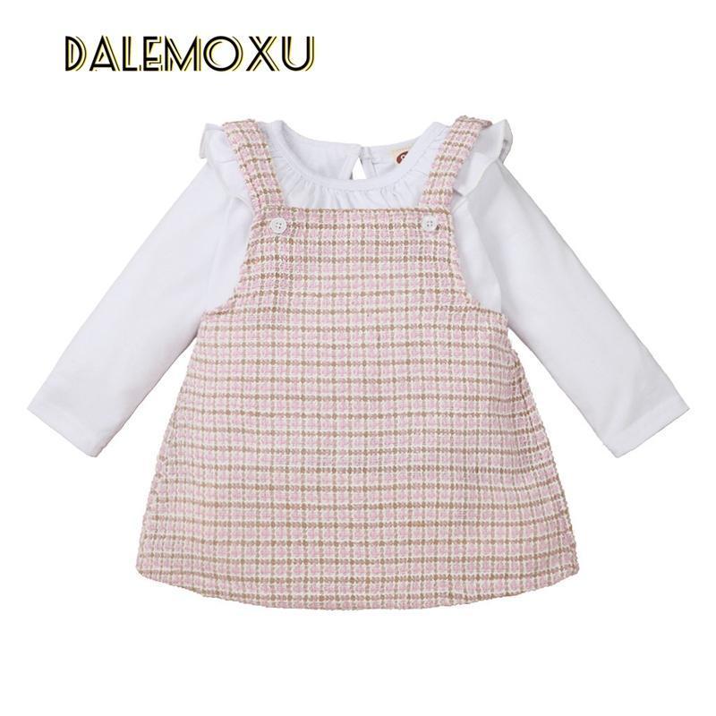 Conjuntos de ropa infantil niño bebé niña falda 2 unids blanco plaid traje traje camiseta de manga larga dulce de manga larga General Suspender Primavera Otoño 0-24m