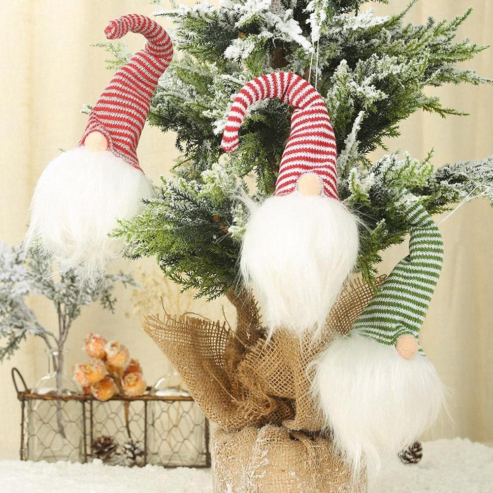 2019 Pendentif de Noël Poupées avec lampe Faceless Père Noël Doll Pendentif Jouet Forêt Ornement Décoration de Noël Nouvel An cadeau Cvyx #