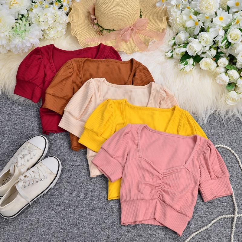 4TVVp Ins2020 moda En tişört üst tişört şeker kadınlar çok yönlü dış için şeker kadınların yeni renk stil kabarcık kollu kısa açık göbek