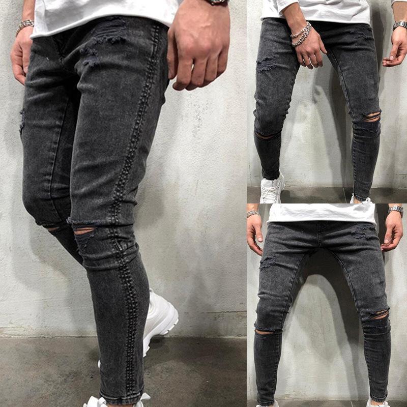 2020 Pantaloni sottili elastici da uomo di Big Hole Jeans