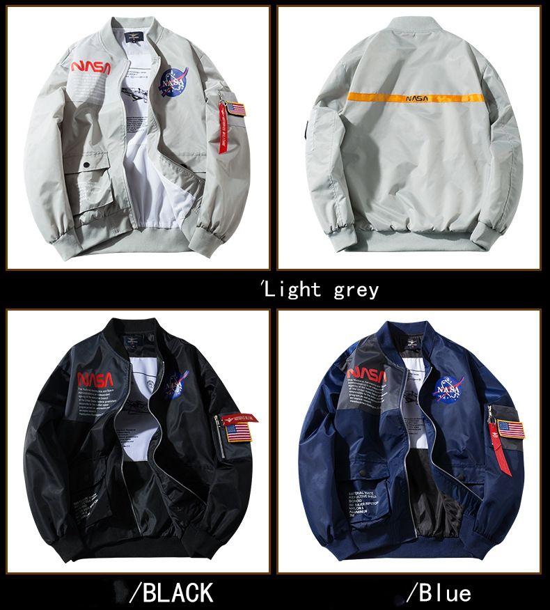 Nasa Veste Outerwear NASA Vol Pilote Bombardier Hommes Stylist Vestes Hommes Femmes Couche de baseball Baseball Mensball Mens Veste taille M-XXL