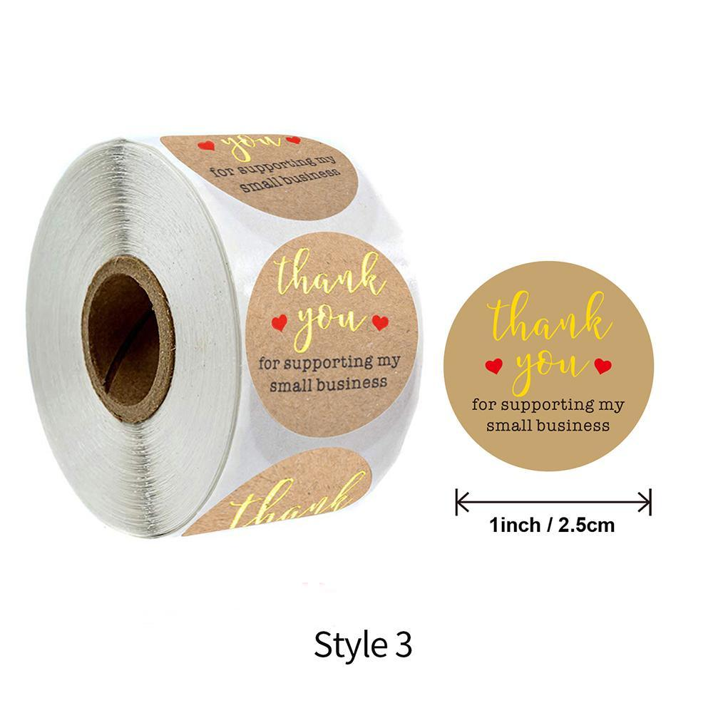 500 Pcs Roll Gold Thank You Round Stickers Hand Made With Love Kraft Paper Labels Envelopes Gift Seal Label Diy Decoration yxlPfi
