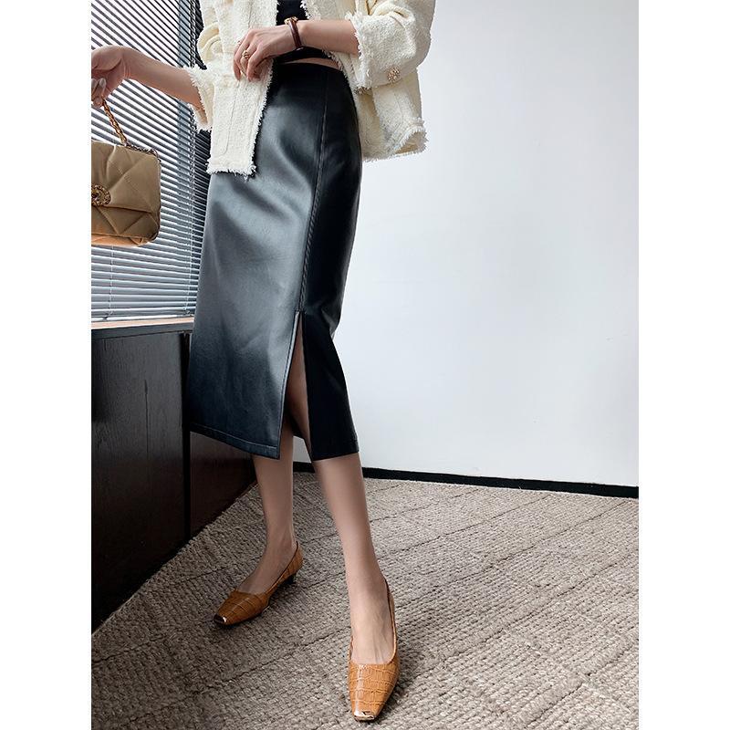 2020 осень зима новый высокой талией для похудения фронт Сплит-линии Pu Кожа Юбка Простой универсальный Женщины Длинные юбки Бесплатная доставка