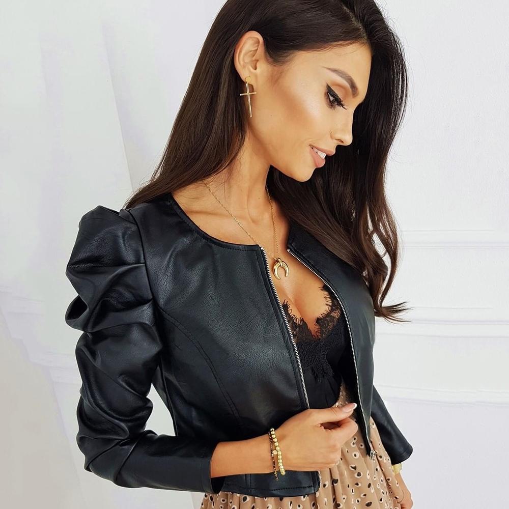 Chaqueta de cuero sintética negra para mujer de la moda de la PU Cuero de la lady Chaquetas con cremallera Outerwear de manga larga O cuello Mujer Top D30 Y201001