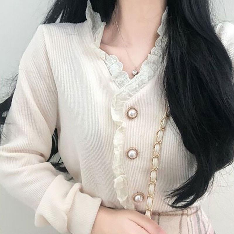 FIFICHUYI Manga larga con cuello en V con cuello con cuello de cordón de lentes de una sola ladia de lentes de lentes vintage vestidos de otoño invierno tops y blusas