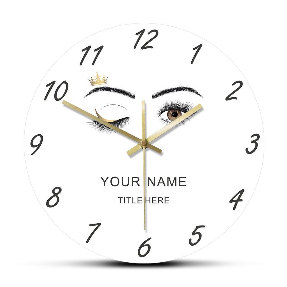 Cils Extensions Salon de beauté sur mesure acrylique Horloge murale Lashes Clin d'oeil des yeux Couronne Sourcils Maquillage studio Horloge