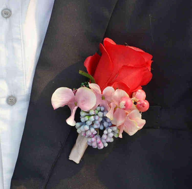 4 pcs / lot bricolage mode de bricolage corsage poignet Phalaenopsis orchidée de fleurs de fleurs hommes Boutonniere broche broche de mariage décor c23