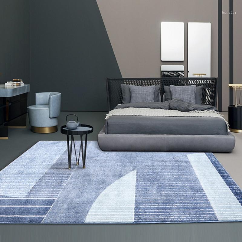 Big Taille Nordic Style Accueil Decoration Géométrique Tapis Tapis en couleur bleue, Séjour de style nordique Villa Tapet1