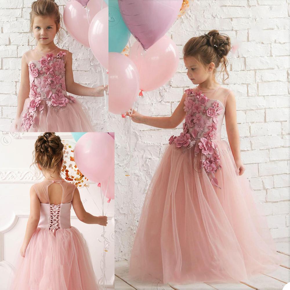 Düğün Mücevher Boyun Custom Made Dantel Up ve Düğme Geri Kız Pageant Elbise Çocuk Doğum törenlerinde İçin 3D Çiçek Çiçek Kız Elbise