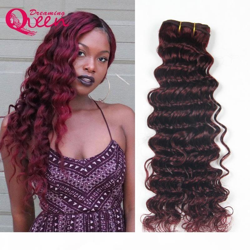 99J Borgoña color profunda brasileña Hemos cabello humano 100% 3 lotes de la extensión del pelo humano de la Virgen de la armadura del pelo de la reina Dreaming envío