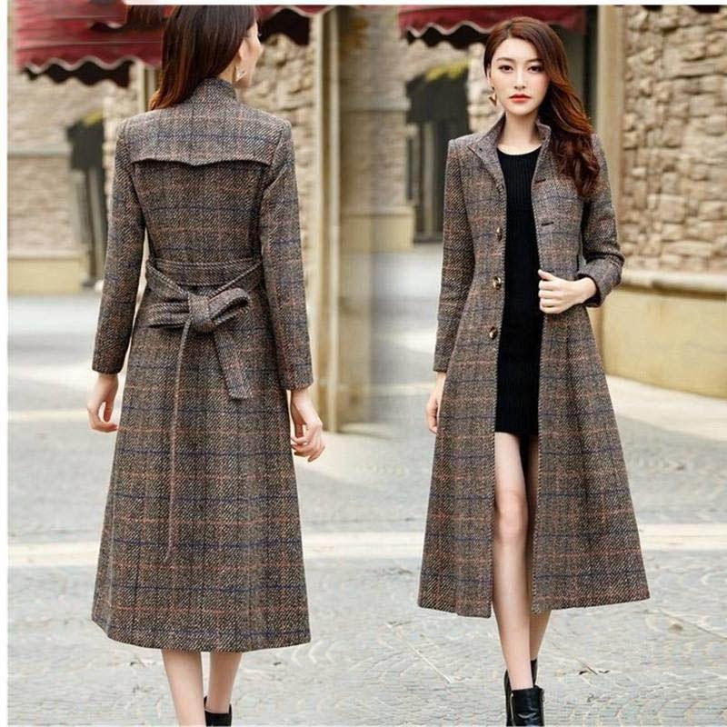 L'alta qualità delle nuove donne lungo cappotto sottile cappotto di lana autunno inverno donne eleganti cappotti grande formato signore reticolo cachemire cappotti
