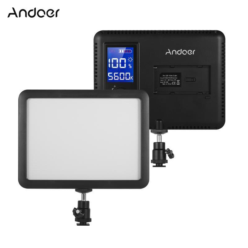La luz del panel Andoer Fotografía 3300K-5600K LED de visualización de video LCD de relleno en la lámpara regulable para la cámara réflex digital
