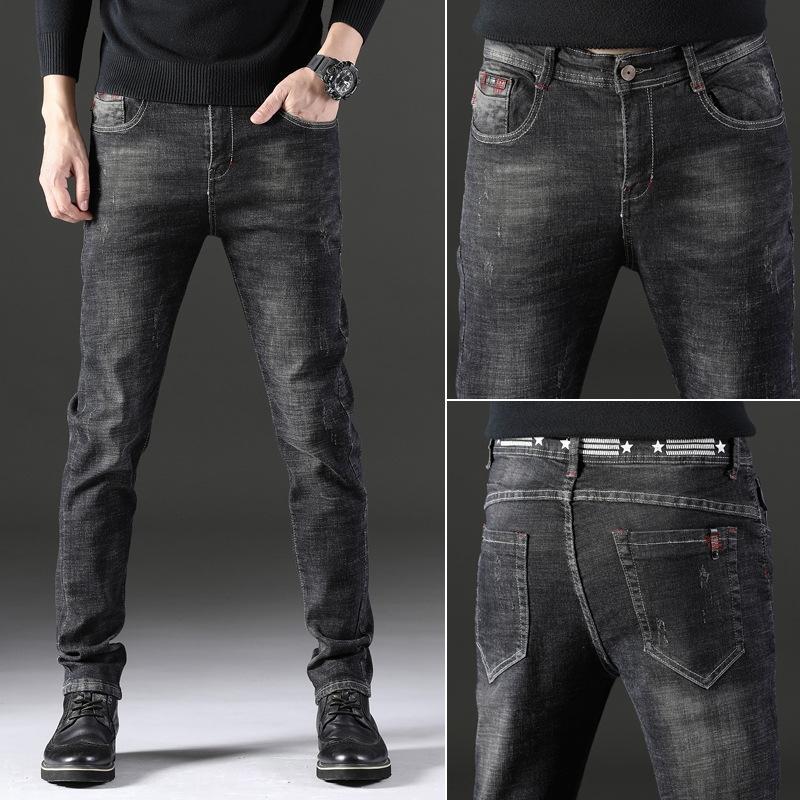 2019 nova perna fina versão masculina e calças e jeans coreana de calças jeans ocasional 2EdA9 dos homens de qualidade