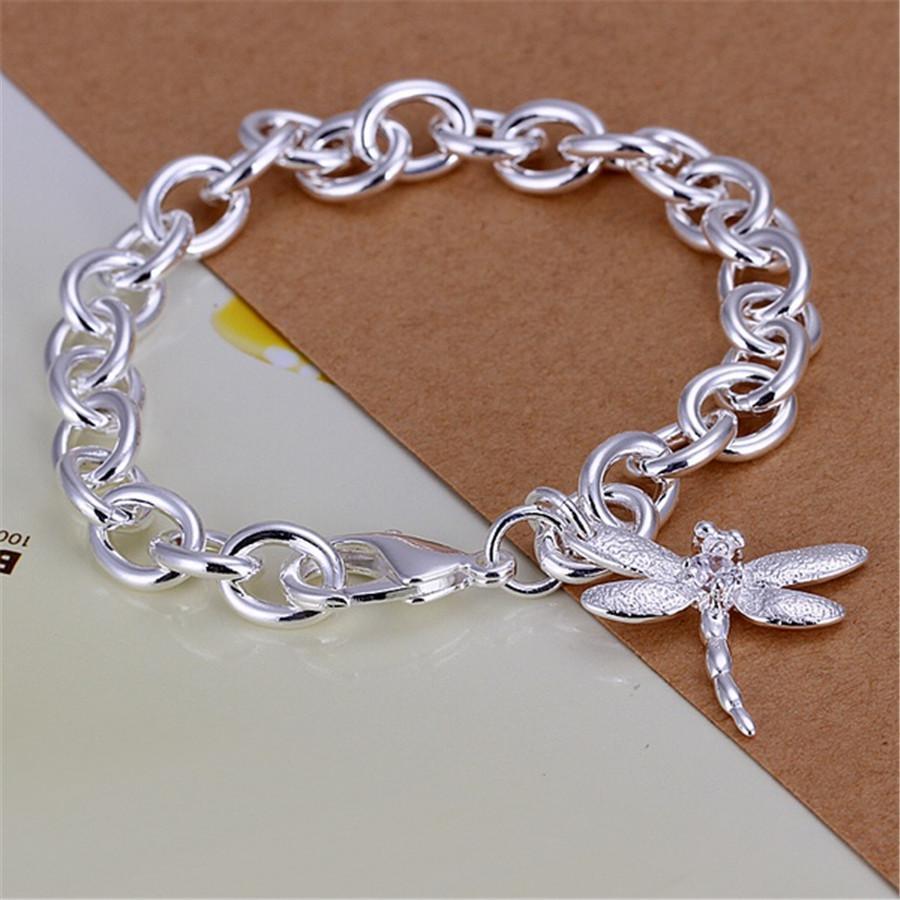 الفضة اللون جميلة اليعسوب الكريستال المعلقات أساور قوائم جديدة جودة عالية الأزياء والمجوهرات هدايا عيد الميلاد h jlleoy