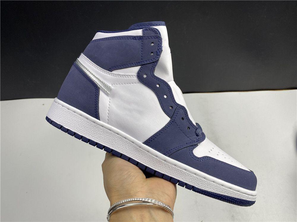 Novos homens mulheres 1s sapatos de basquete 1 co.jp marinho azul moda esportes ao ar livre sapatos atléticos