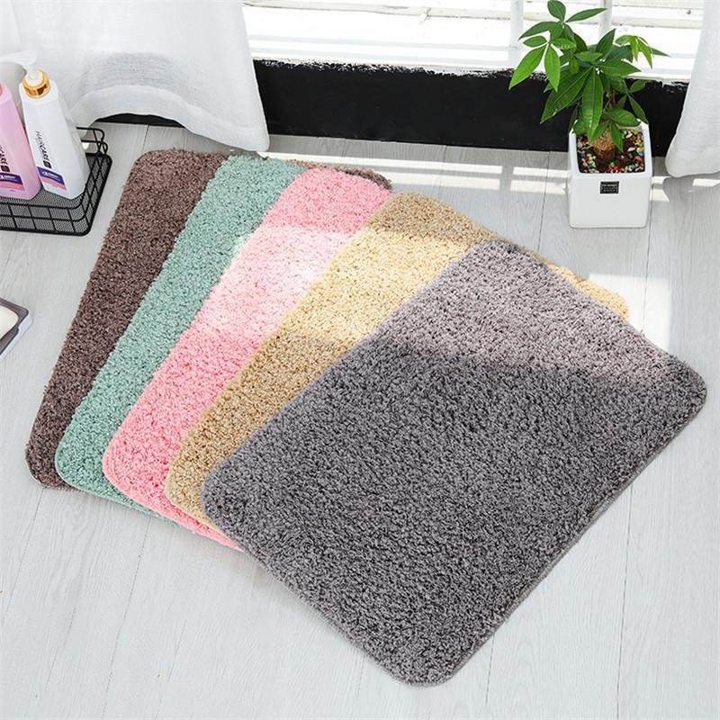 İmitasyon Kaşmir Banyo Emici Halı Katı Renk Kaymaz Kare 40 * 60 cm 50 * 80cm Banyo Yatak odası Mutfak Zemin Mat DWE2153